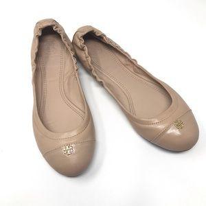 Tory Burch York Logo Ballet Flat In Camelia Pink